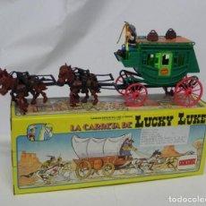 Figuras de Goma y PVC: DILIGENCIA LUCKY LUKE, REALIZADA POR COMANSI. NUEVA Y EN SU CAJA. DIFICIL MODELO CON CABALLOS Y COND. Lote 232549725