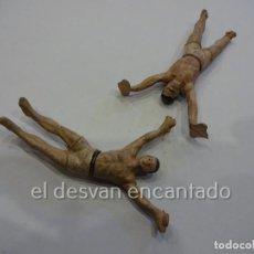 Figuras de Goma y PVC: CIRCO JECSAN. DOS SALTIMBANQUIS O TRAPECISTAS DE GOMA. FALTA UNA BASE. Lote 232608206