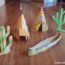 Figuras de Goma y PVC: TIENDAS INDIO COMANSI MÁS CANOA Y CACTUS. Lote 233416030