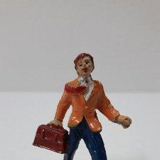 Figuras de Goma y PVC: VIAJERO . REALIZADO POR JECSAN . FIGURAS DE ESTACION . SERIE PEQUEÑA . AÑOS 50 EN GOMA. Lote 233578400