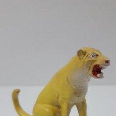 Figuras de Goma y PVC: LEONA SENTADA . REALIZADA POR JECSAN . SERIER CIRCO . ORIGINAL AÑOS 50 EN GOMA. Lote 234057590