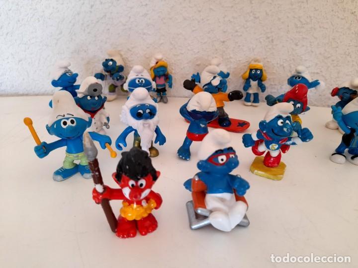Figuras de Goma y PVC: Lote 18 Pitufos Schleich Peyo Germany alguno 1978 otros sin marca tribu pitufina ver fotos - Foto 2 - 234749720