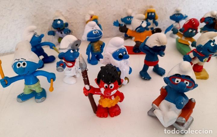 Figuras de Goma y PVC: Lote 18 Pitufos Schleich Peyo Germany alguno 1978 otros sin marca tribu pitufina ver fotos - Foto 12 - 234749720