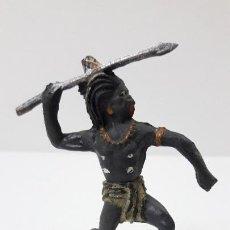 Figuras de Goma y PVC: GUERRERO NEGRO AFICANO . REALIZADO POR GAMA . SERIE GUERREROS AFRICANOS . ORIGINAL AÑOS 50 EN GOMA. Lote 235152145