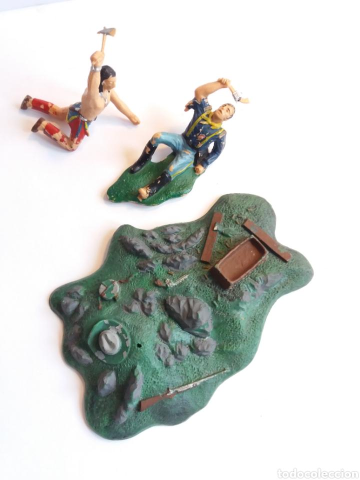 BASE DE LA BATALLA DE LITTLE BIG HORN ( AÑOS 60 ) (Juguetes - Figuras de Goma y Pvc - Reamsa y Gomarsa)