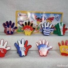 Figuras Kinder: COLECCION COMPLETA FIGURAS HUEVOS KINDER MANOS NACIONALIDADES. Lote 235572510