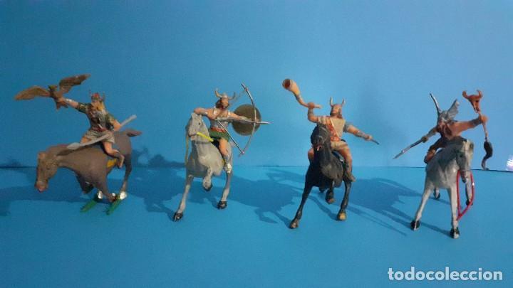 LOTE DE 4 FIGURAS VIKINGOS. ESTEREOPLAST. GUNDAR , OLAFF , GOODFREI Y RAGNAD COMPLETOS (Juguetes - Figuras de Goma y Pvc - Estereoplast)