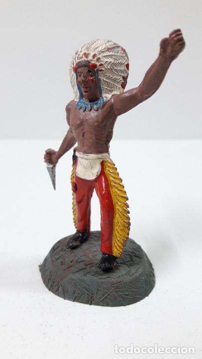 Figuras de Goma y PVC: GUERRERO INDIO CON BASE . REALIZADO POR ALCA - CAPELL . ORIGINAL AÑOS 50 EN GOMA - Foto 3 - 236185580