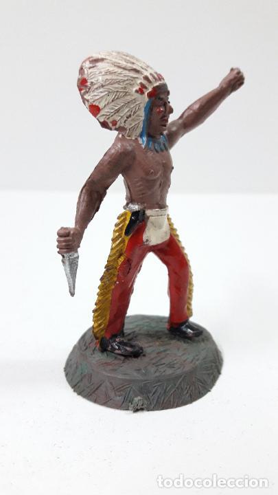 Figuras de Goma y PVC: GUERRERO INDIO CON BASE . REALIZADO POR ALCA - CAPELL . ORIGINAL AÑOS 50 EN GOMA - Foto 4 - 236185580