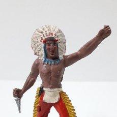 Figuras de Goma y PVC: GUERRERO INDIO CON BASE . REALIZADO POR ALCA - CAPELL . ORIGINAL AÑOS 50 EN GOMA. Lote 236185580