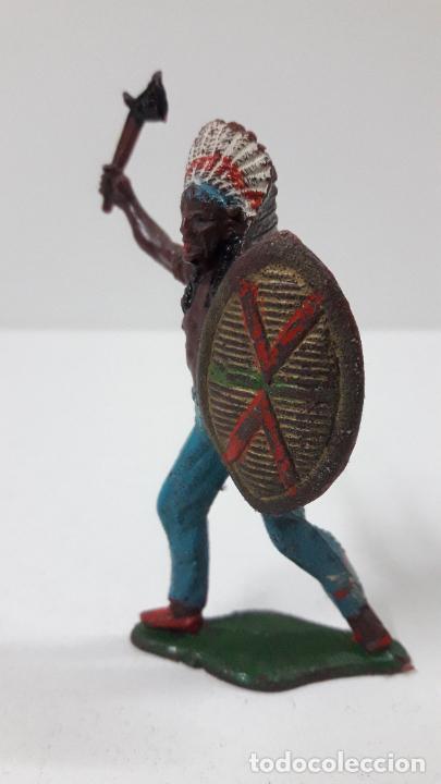 Figuras de Goma y PVC: JEFE INDIO ATACANDO . REALIZADO POR TEIXIDO . ORIGINAL AÑOS 60 - Foto 3 - 236617105