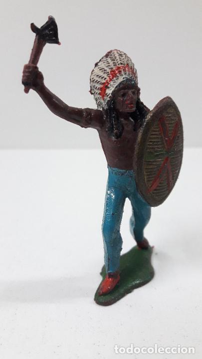 Figuras de Goma y PVC: JEFE INDIO ATACANDO . REALIZADO POR TEIXIDO . ORIGINAL AÑOS 60 - Foto 4 - 236617105