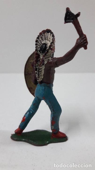 Figuras de Goma y PVC: JEFE INDIO ATACANDO . REALIZADO POR TEIXIDO . ORIGINAL AÑOS 60 - Foto 5 - 236617105