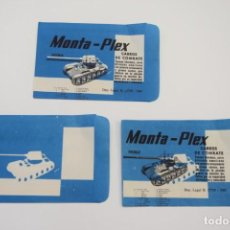 Figuras de Goma y PVC: MONTAPLEX - 3 SOBRES VACÍOS SHERMAN CARROS DE COMABTE CON DEFECTOS DE IMPRESIÓN - RARO -. Lote 236902725