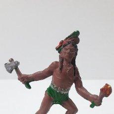 Figuras de Goma y PVC: GUERRERO INDIO . REALIZADO POR LAFREDO . ORIGINAL AÑOS 50 EN GOMA. Lote 236974210
