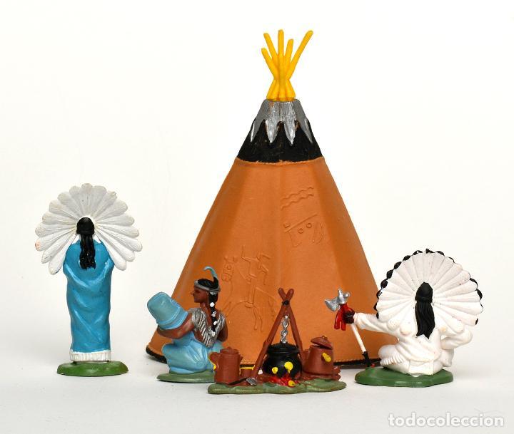 Figuras de Goma y PVC: Lote de indios de Herald Britains, en plástico, circa 1970. - Foto 2 - 237110490