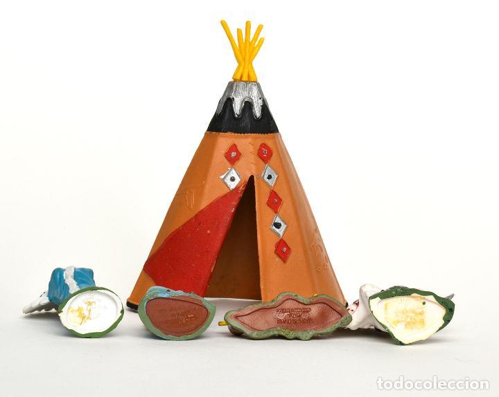 Figuras de Goma y PVC: Lote de indios de Herald Britains, en plástico, circa 1970. - Foto 3 - 237110490