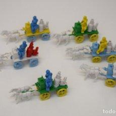 Figuras de Goma y PVC: MONTAPLEX - BOMBA DE AGUA A VAPOR TIRADA POR CABALLOS DE BOMBEROS - KIOSCO AÑOS 70. Lote 237480180