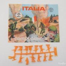 Figuras de Goma y PVC: MONTAPLEX SOBRE ITALIA COMBATIENTES - SELLO GRUPOS DE COMBATE + COLADA ITALIANOS. Lote 237835495