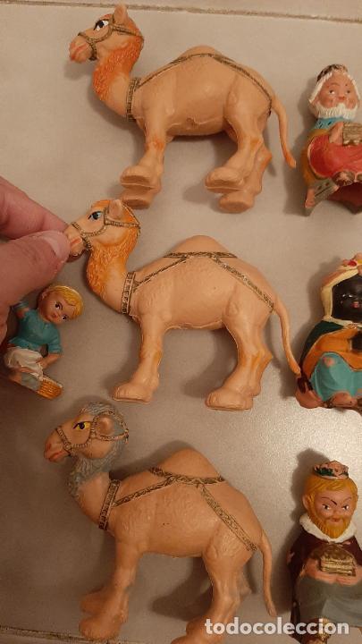 Figuras de Goma y PVC: LOTE FIGURAS DE BELEN CABEZONES FERRANDIZ PECH REYES MAGOS CAMELLOS PASTORES LABORES PVC GOMA AÑOS70 - Foto 2 - 238136335