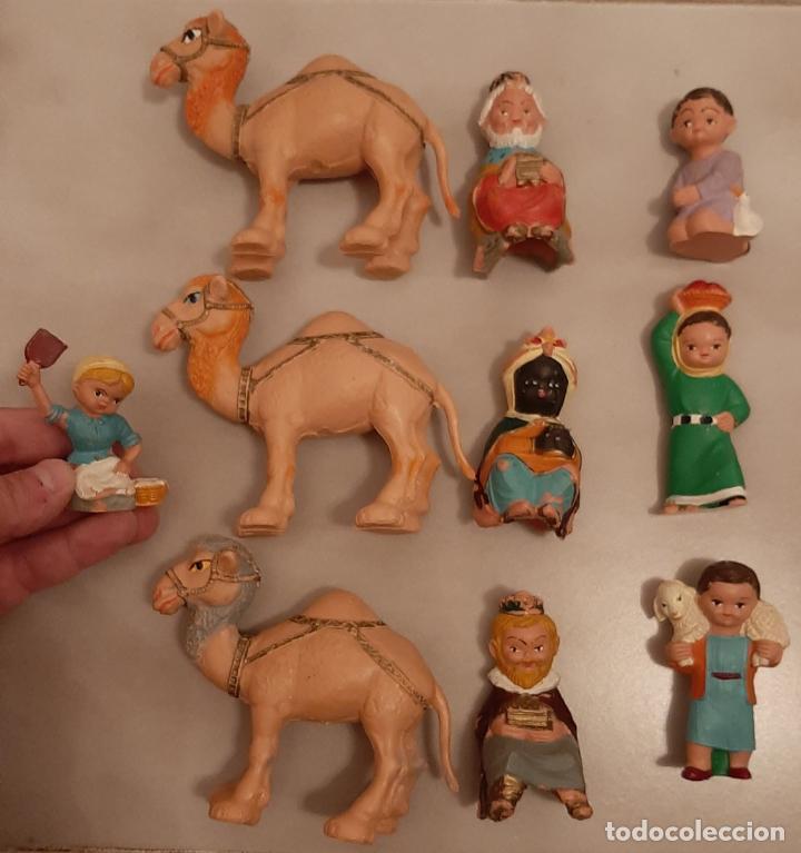 LOTE FIGURAS DE BELEN CABEZONES FERRANDIZ PECH REYES MAGOS CAMELLOS PASTORES LABORES PVC GOMA AÑOS70 (Juguetes - Figuras de Goma y Pvc - Pech)