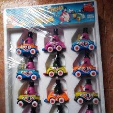 Figuras de Goma y PVC: OBERTOYS EXPOSITOR BLISTER COCHE CHOLLO FIGURA PVC DEL PROGRAMA TVE UN DOS TRES COCHES AÑOS 80. Lote 238293315