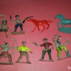 Figuras de Goma y PVC: LOTE 6 FIGURAS INDIOS Y VAQUEROS Y 2 CABALLOS COMANSI. Lote 239510455