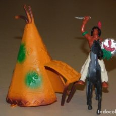 Figuras de Goma y PVC: COMANSI III TEMPORADA *TIPI CON INDIO A CABALLO CON ESCUDO Y CUCHILLO* 2 FOTOS. Lote 240333490