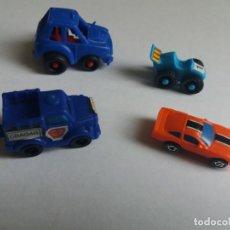 Figuras Kinder: LOTE 4 MINI COCHES, KINDER, ¿MICRO MACHINES?, OTRO.. Lote 240800880