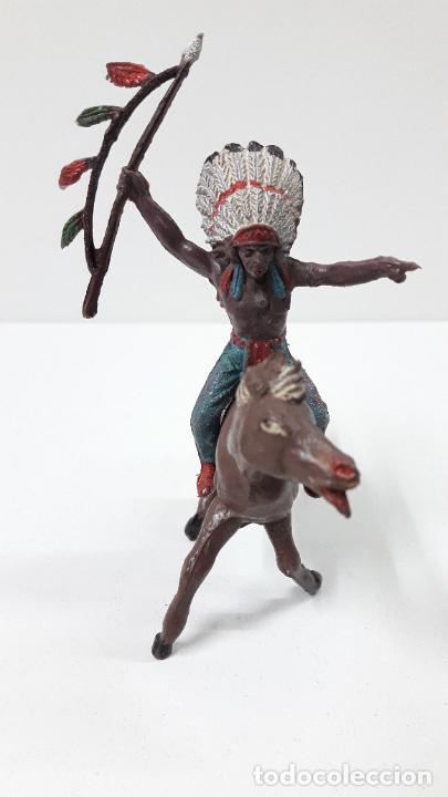 Figuras de Goma y PVC: JEFE INDIO PARA CABALLO . REALIZADO POR TEIXIDO . ORIGINAL AÑOS 60 . CABALLO NO INCLUIDO - Foto 3 - 241212875