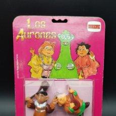 Figuras de Goma y PVC: LOS AURONES FIGURAS DE PVC PINTADAS A MANO EN BLISTER PERFECTO - ULTRA RARA!!!!! YUCA Y GAYOFA. Lote 243666275