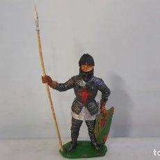 Figuras de Borracha e PVC: GUERRERO MEDIEVAL CON LANZA EN SU CAJA ORIGINAL SERIE FIGURAS HISTORICAS DE COMANSI. Lote 244615145