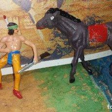 Figuras de Goma y PVC: INDIO Y CABALLO DE JECSAN. Lote 244857825