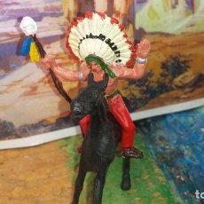 Figuras de Goma y PVC: INDIO Y CABALLO DE COMANSI. Lote 247701470