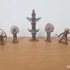 Figuras de Borracha e PVC: RESERVADO LOTE INDIOS DEL OESTE AMERICANO MAS TOTEM EN PLASTICO MADE IN HONG KONG BRITAINS. Lote 250263965