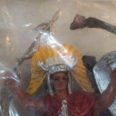 Figuras de Goma y PVC: 2 BOLSAS JUGUETES REIGON INDIO CON CABALLO PINTADOS A MANO HÉROES DEL OESTE. TIPO COMANSI. Lote 251130300