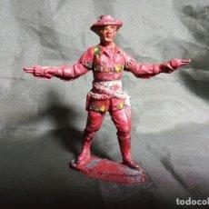 Figuras de Goma y PVC: PISTOLERO EN GOMA POSIBLE REAMSA 6,2 CM DE ALTO GOMA MARRÓN ROJIZA. Lote 251347520