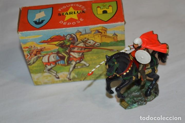 Figuras de Goma y PVC: CHEVAL NOIR - STARLUX ANCIEN - Ref 6101 Lance et cape sur cheval cabré / Buen estado ¡Difícil, mira! - Foto 2 - 252463155