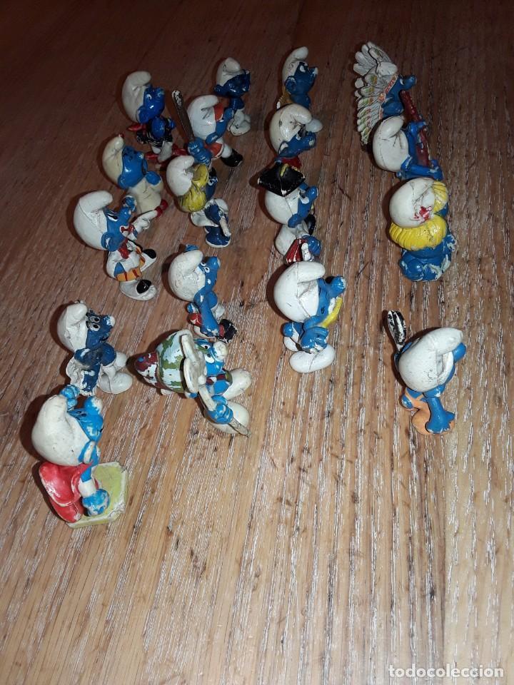 Figuras de Goma y PVC: Pitufos antiguos, usados, sin marca. - Foto 2 - 252486705