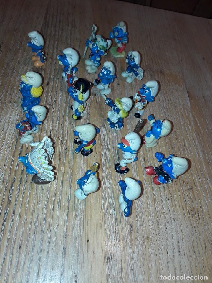 Figuras de Goma y PVC: Pitufos antiguos, usados, sin marca. - Foto 3 - 252486705