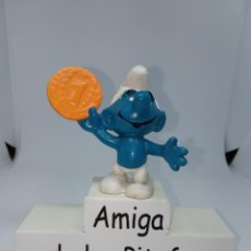 Figuras de Goma y PVC: PITUFO - CON MONEDA - PEYO -. Lote 254435790