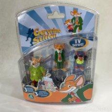 Figuras de Goma y PVC: BLISTER 3 FIGURAS PVC GERÓNIMO STILTON - TRAMPITA, GERÓNIMO Y TEA - GIOCHI PREZIOSI -NUEVO. Lote 254505395