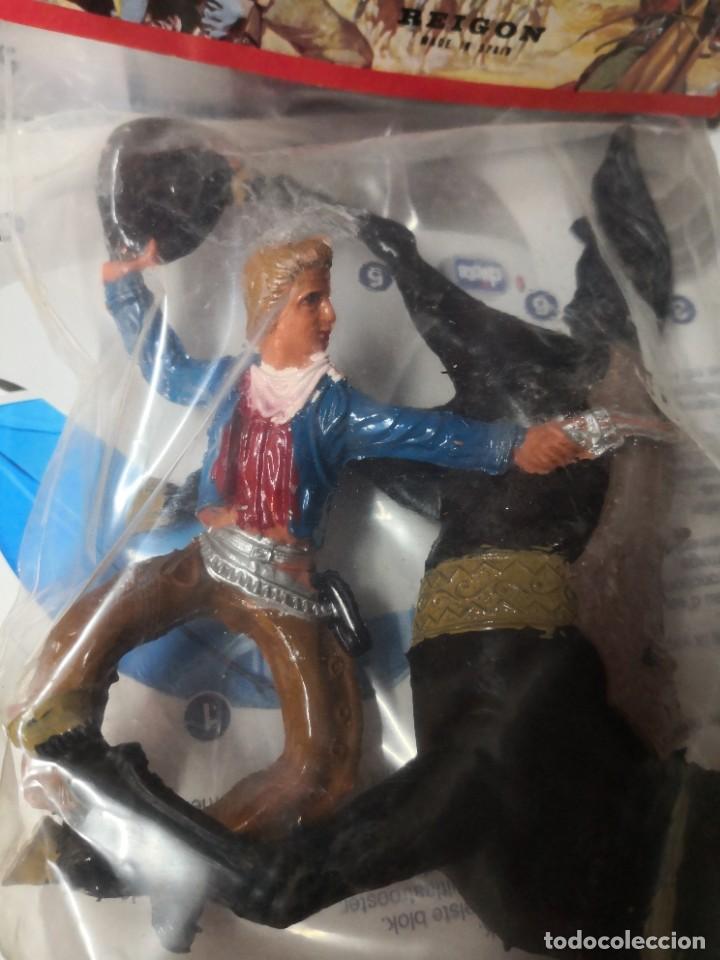 Figuras de Goma y PVC: bolsa juguete REIGON VAQUERO CON CABALLO PINTADOS A MANO héroes del Oeste. Tipo comansi - Foto 2 - 254549425