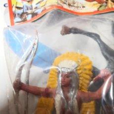 Figuras de Goma y PVC: 2 BOLSAS REIGON VAQUERO Y INDIO CON CABALLO PINTADOS A MANO HÉROES DEL OESTE. TIPO COMANSI. Lote 254550205