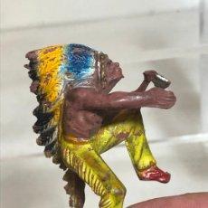 Figuras de Goma y PVC: SOLDADO JINETE INDIO - PECH, GOMA AÑOS 50. Lote 254584215