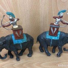 Figurines en Caoutchouc et PVC: GRANDES BATALLAS DEL MUNDO. ROMANOS CONTRA CARTAGINESES. ELEFANTES. GBM. AÑOS 60. BATALLA DE ZAMA. Lote 254717830