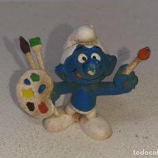 Figuras de Goma y PVC: BULLY : ANTIGUA FIGURA DE GOMA DE LOS PITUFOS - SMURFS - PITUFO PINTOR - PEYO - AÑOS 80. Lote 255431505