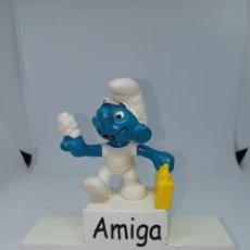 Figuras de Goma y PVC: PITUFO DEDO VENDADO Y MALETIN AMARILLO- SCHLEICH. Lote 257535990