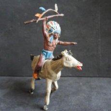 Figuras de Borracha e PVC: TEIXIDO INDIO A CABALLO GOMA. Lote 257736890