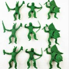 Figuras de Goma y PVC: COMANSI INDIOS . PIEZAS DE LOS 70. CONJUNTO DE 9 UNIDADES. Lote 259328150